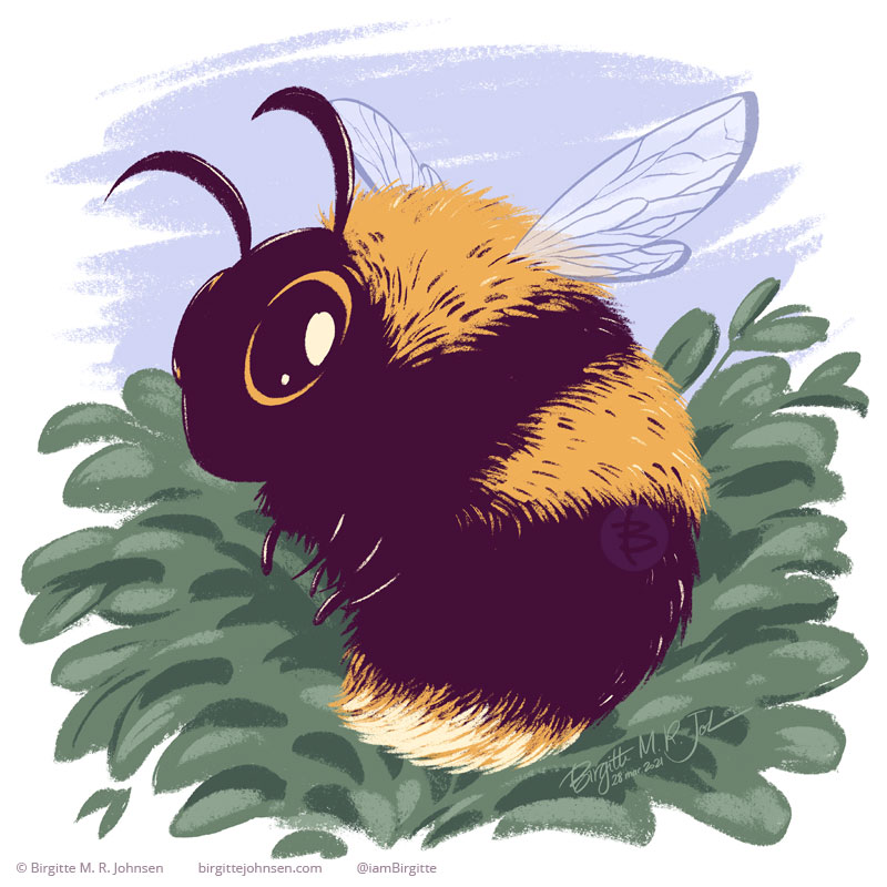 A very cute bumblebee painted in cute cartoony style, which exaggerates its features such as making the eye bigger, but its legs and wings are smaller than normal, which makes it's body look extra big. Behind the bumblebee are some plants, and a blue sky.