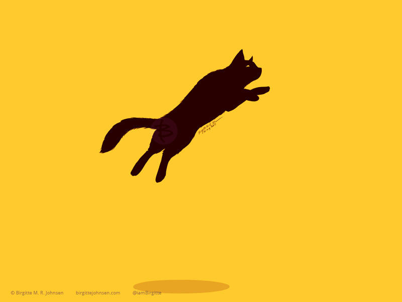 A black cat leaping set against a bright yellow background.