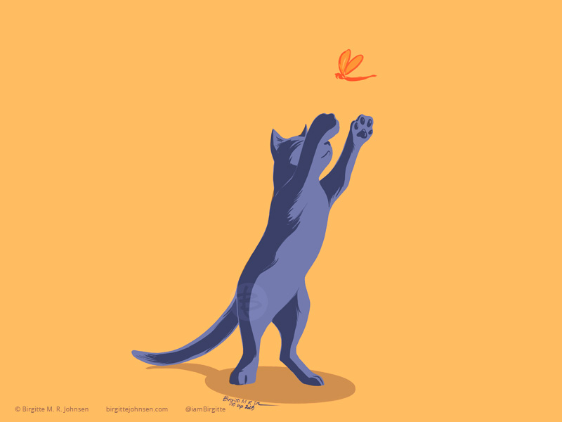 A russian blue cat playing jumping to try to catch a dragon fly.