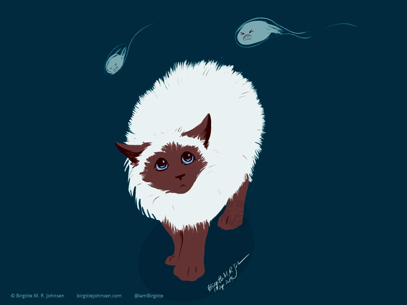 Two ghosts hovering over a Himalayan cat which arches is back to look bigger, and its hair is all fluffed.