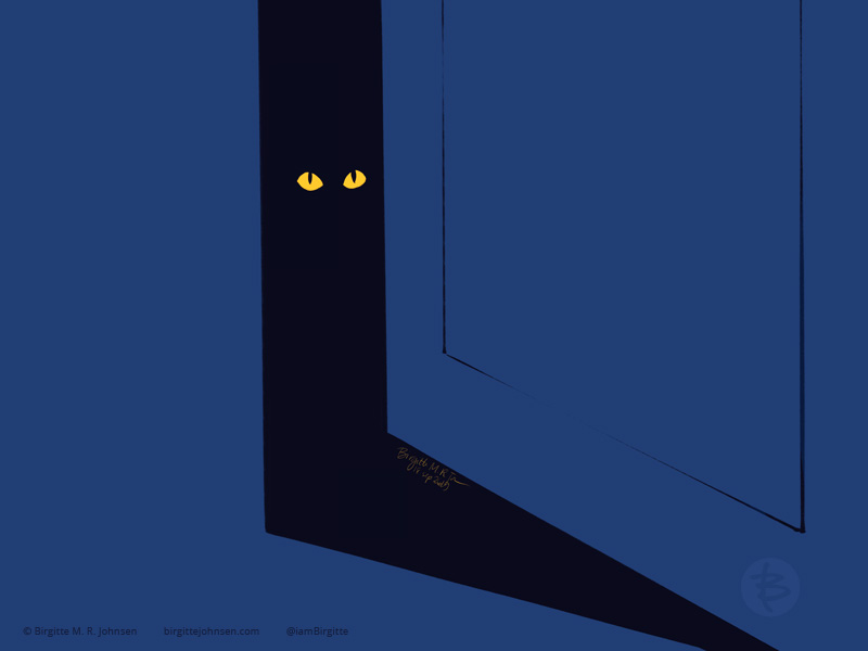 A door is ajar leading into a dark room, two yellow eyes is all that is visible in the cat sitting in the doorway.