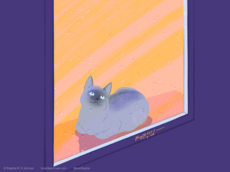 A Tonkinese cat lying on a windowsill, looking out the window which is covered in rain drops, painted as though the viewer is on the outside looking in.