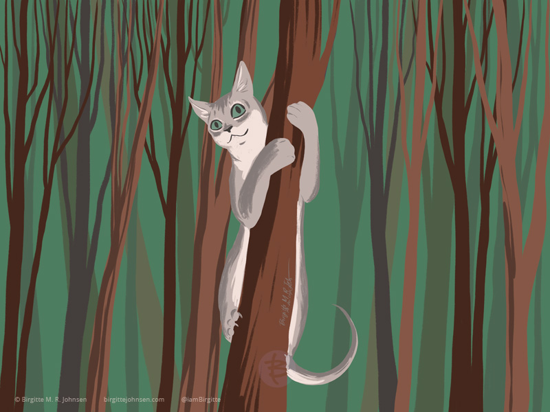 A Singapura cat climbing a tree in a small forest.