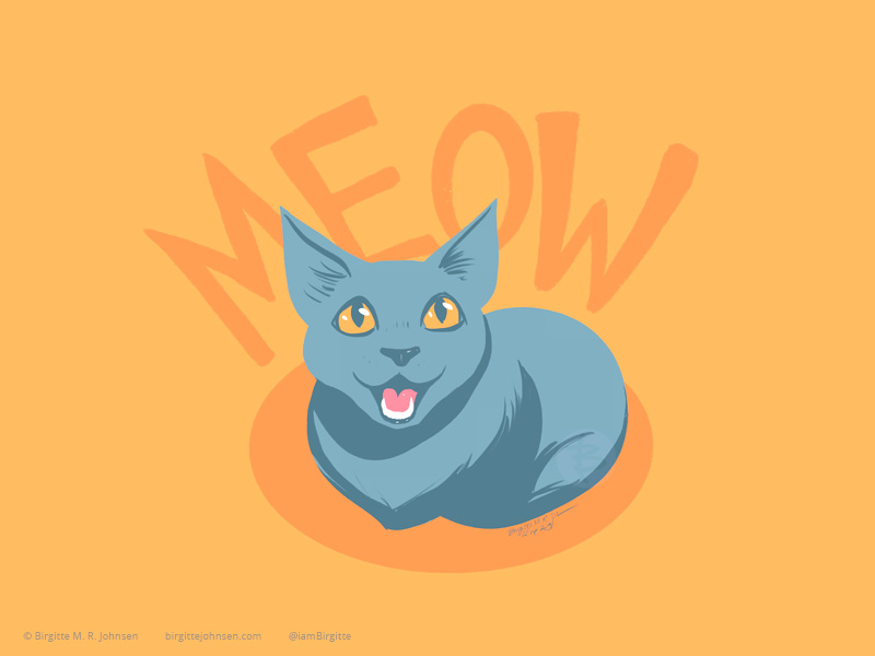 A grey cat (chartreux cat), looking up at you meowing, with the words