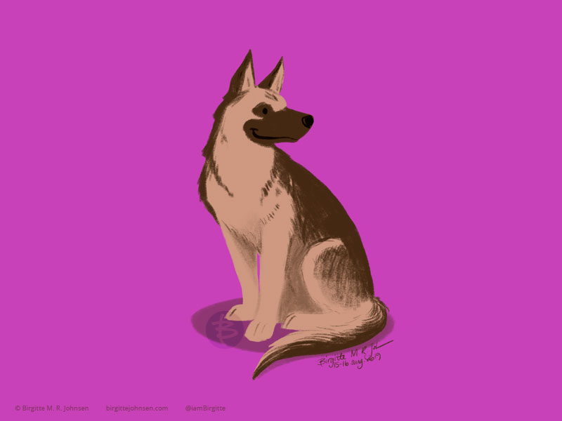 A German Shepherd in tan and browns drawn on a dusky warm purple background.