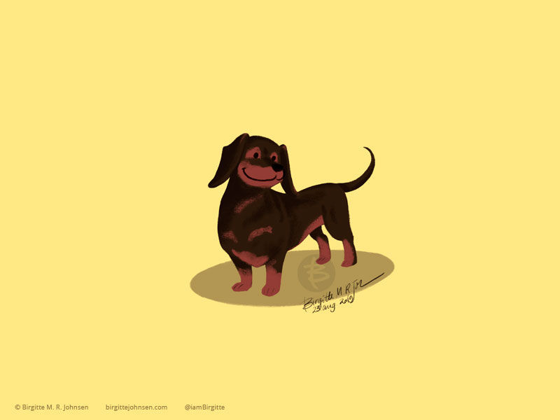 A black and tan smooth haired Dachshund on a light yellow background.