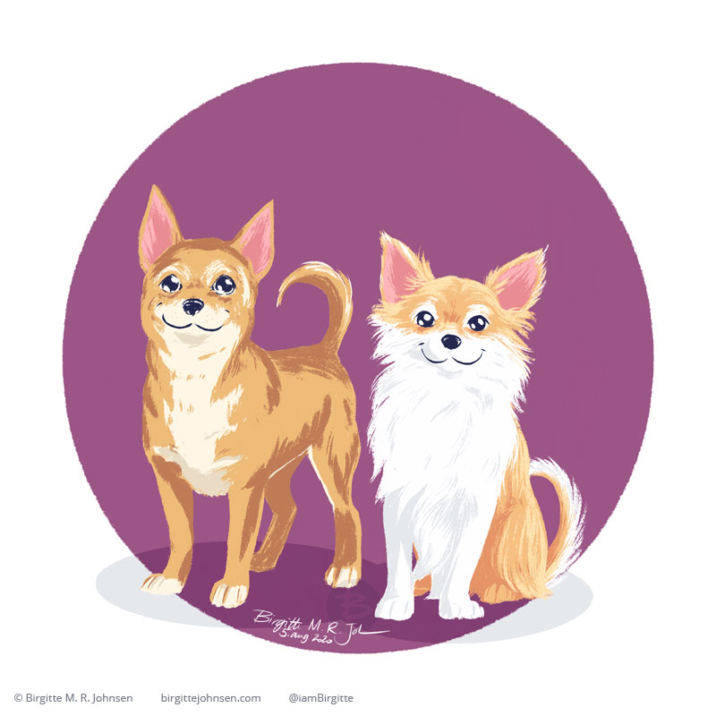 A short haired and longhaired chihuahua painted side by side in front of a circular purple background.