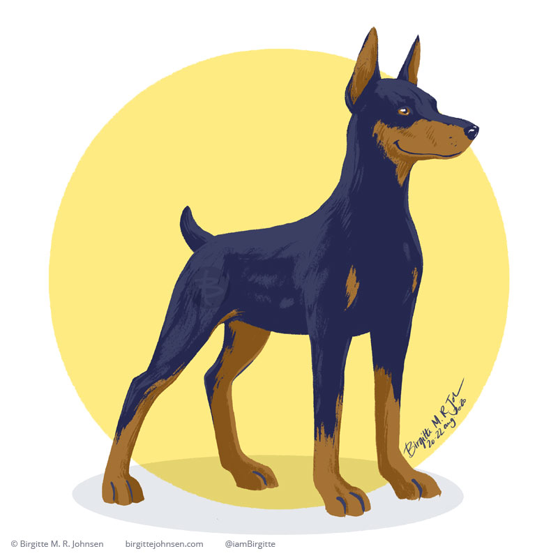 An alert Doberman Pincher painted digitally in front of a yellow circular background.