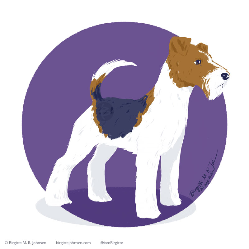 A digital painting of a Wire Fox Terrier, mainly white with brown and black markings, standing attentively in front of a circular purple background.