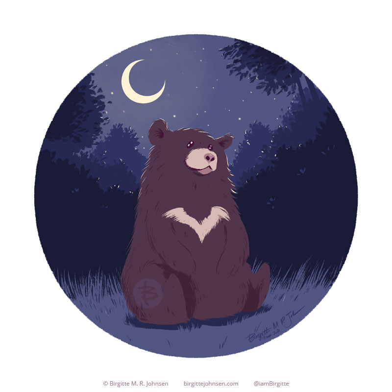 A circular painting of a moon bear sitting happily among the shrubbery in the dark, with a crescent moon hanging low in the sky.