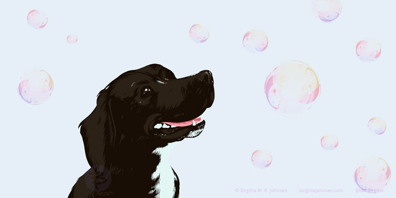Digital painting of Morty the stocker (Staffordshire bull terrier and Cocker spaniel mix) who is watching soap bubbles float around his head.
