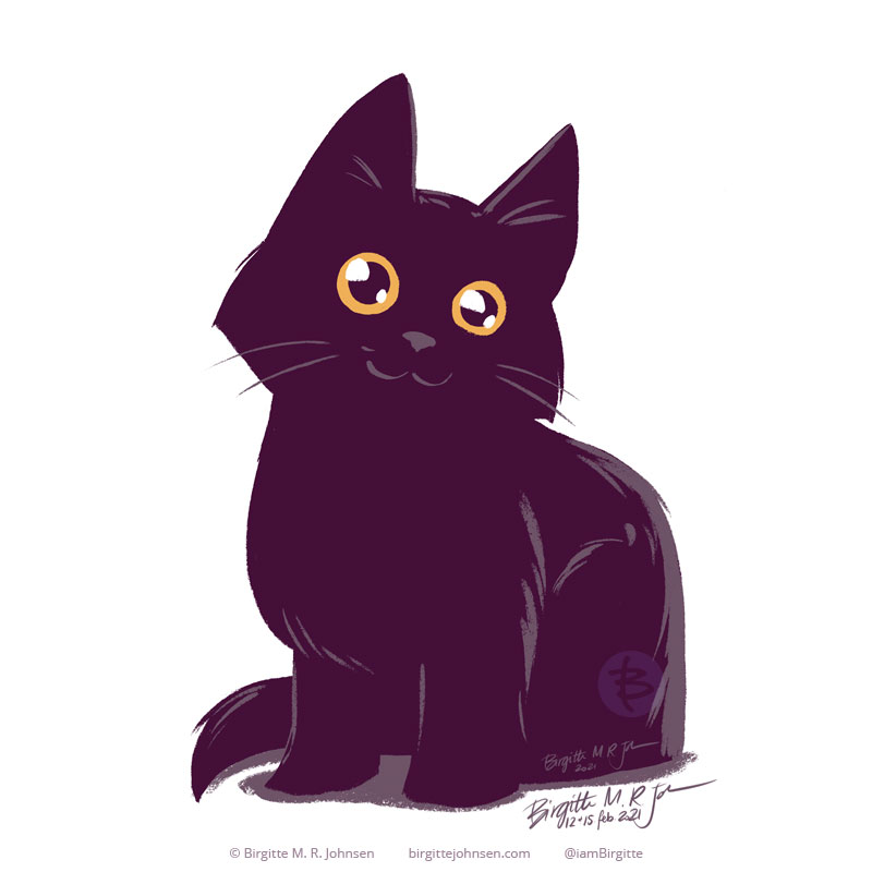 A very cute rendition of Naomi the black cat. The style is quite cartoony, with fatter and shorter giving a stumpy appearance, with rather big eyes.