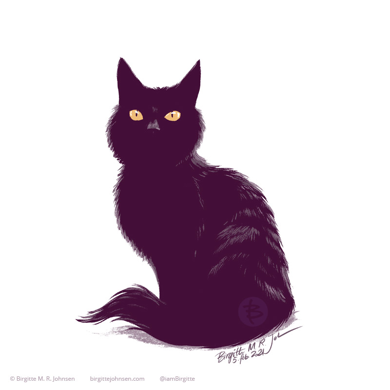 Painting of Naomi the black cat in my usual style. Naomi is sitting tall with her tail curled around her, just enough colour is added show the texture of her long fur, and show where her nose is. The image is painted digitally using only six colours including white.