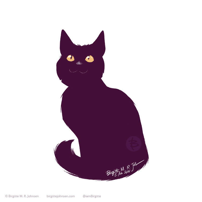 A simplified painting of Naomi the black cat painted using only four colours including white. Naomi is sitting tall, staring towards the top of the image, eyes wide and yellow. She appears a bit like a silhouette with only her eyes, nose and a little smile which define her internal features.