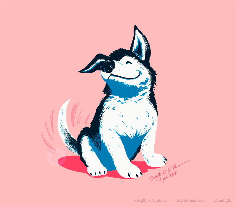 A happy puppy wagging its tail, painted in pink and blues.