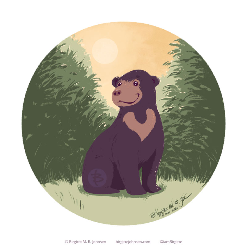 A circular painting featuring a sun bear sitting happily in a clearing of the wood, with the sun shining behind it.