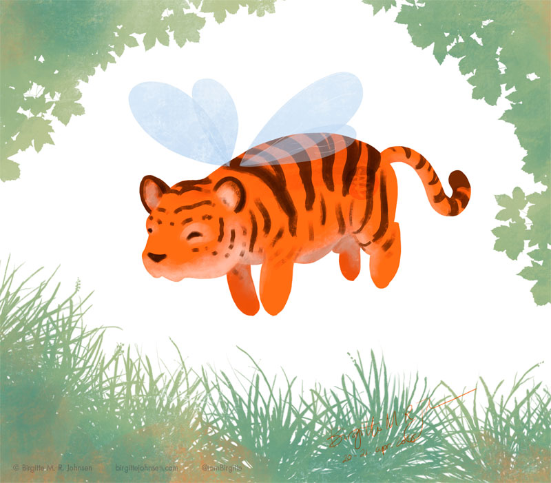 A tiger, which is also a bee, or a tiger bee, if you'd like.