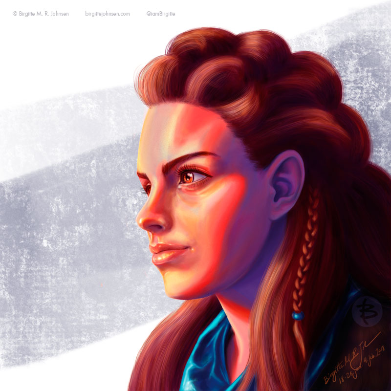 A digital portrait of Aloy, drawn in a realistic style, but with slightly more vivid colours.