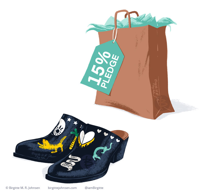 Two spot illustrations in she shape of two clogs and a shopping bag with a tag that reads