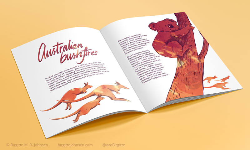Article layout including illustrations regarding the Australian bushfires during the 2019 and 2020 season.