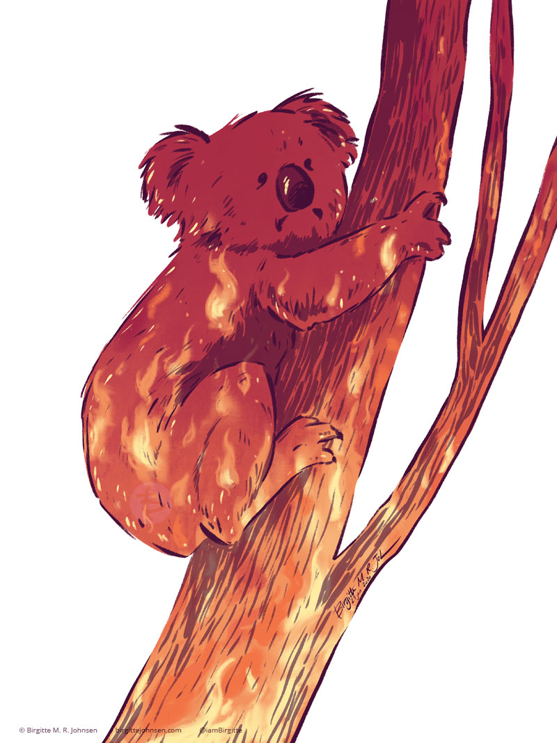 The silhouette of a koala clinging to a tree filled with fire.