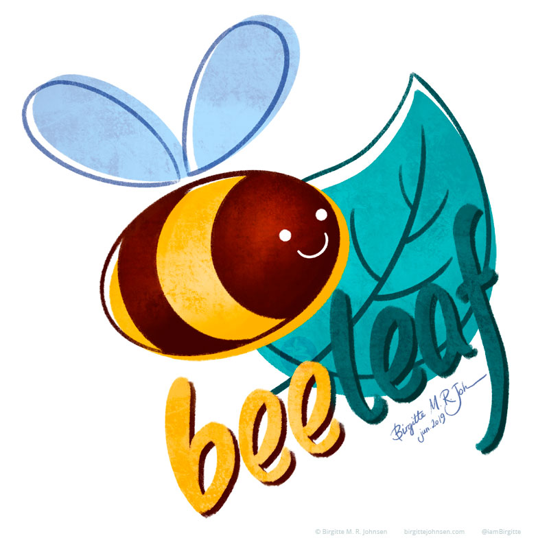A bee and a leaf, spelling out 'bee leaf', which can be read as 'belief' or 'believe'.