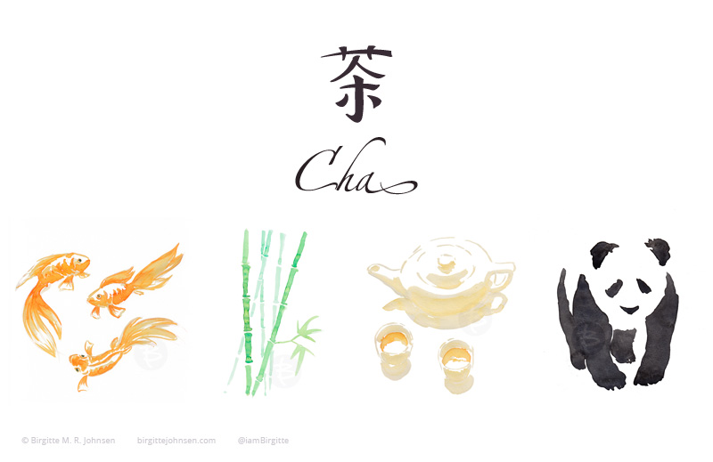 The logo of the tea boxes as well as each of the illustrations found on the back of the boxes; coi fish, bamboo, china cups and teapot and a panda.
