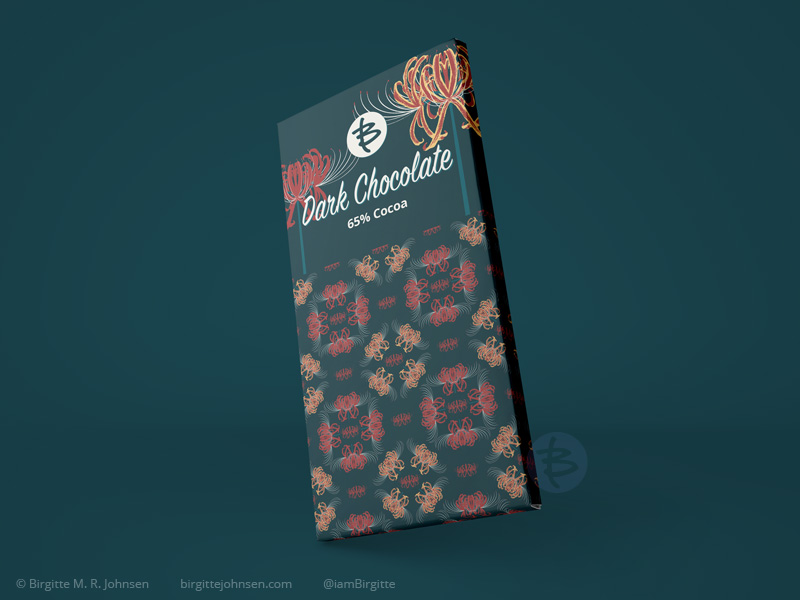 Mock up of the packaging of a dark chocolate bar, featuring images of spider lilies as well as a pattern with spider lilies.
