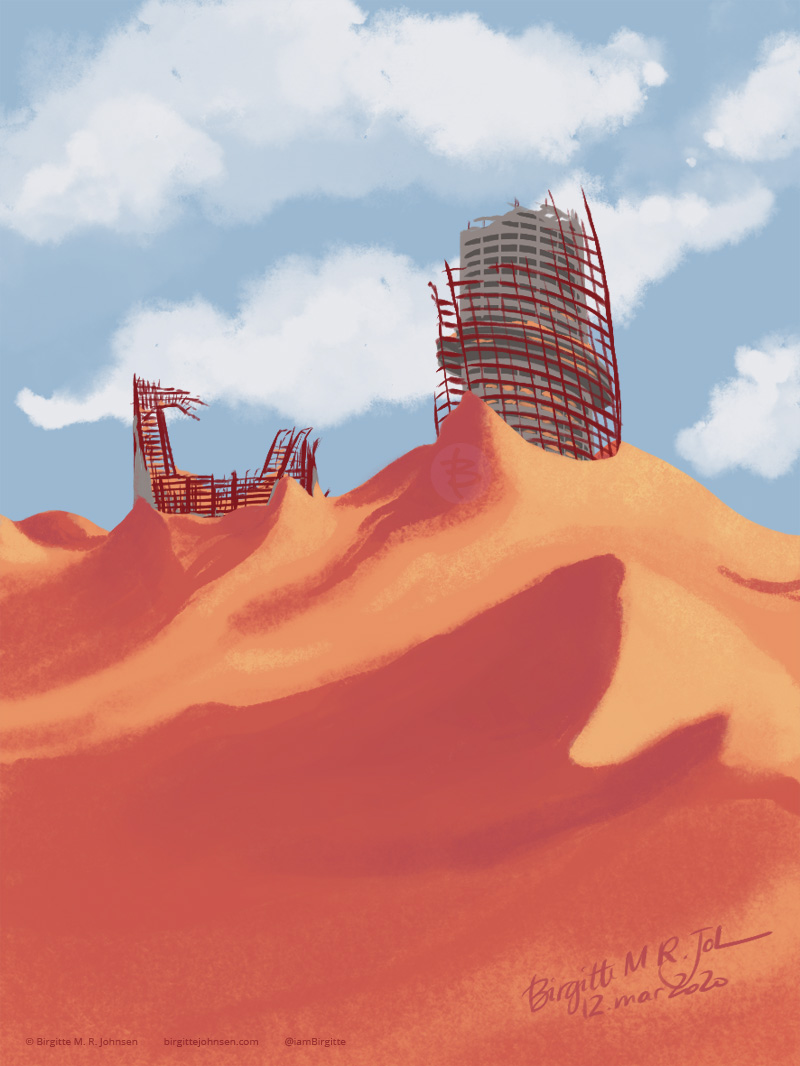 Illustration of two ruined buildings, covered in sand.