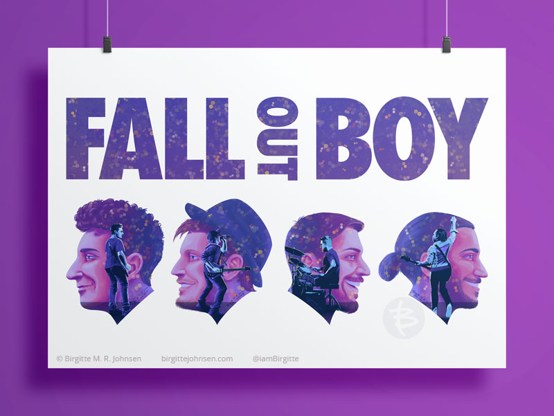Double exposure poster for the band Fall Out Boy featuring a portrait of each of the band members with a full body live image inside their respective portraits.