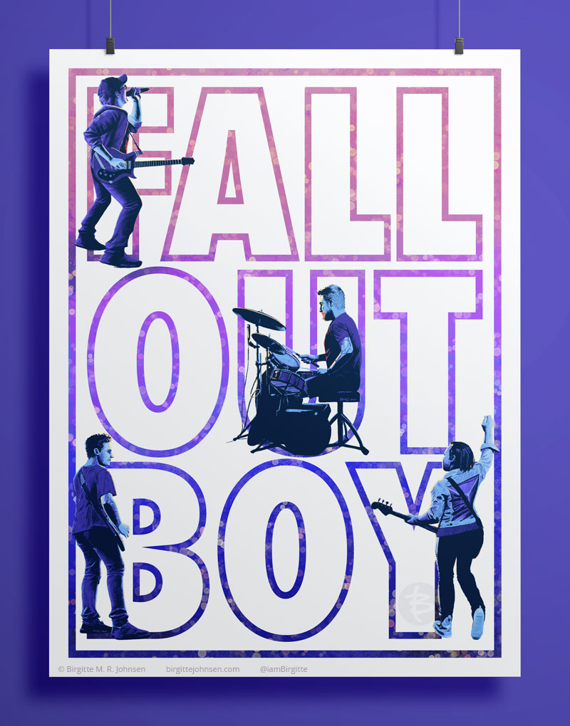 Typographical poster for the band Fall Out Boy with the band member positioned inside some of the letters.