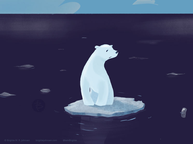 A detail of the image, not only focusing on the polar bear, but the rubbish in the ocean is also more prevalent.