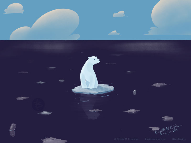 A polar bear on a small ice floe, with no land and no other ice in sight.