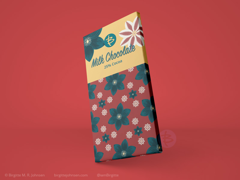 Mock up of packaging for a milk chocolate bar, featuring clematis flowers, both as a flower and pattern.