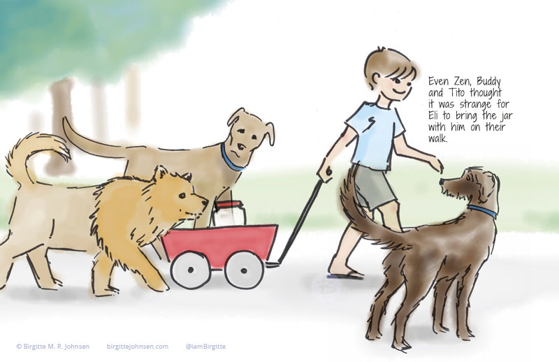Eli taking his three dogs and his jar for a walk in the park.
