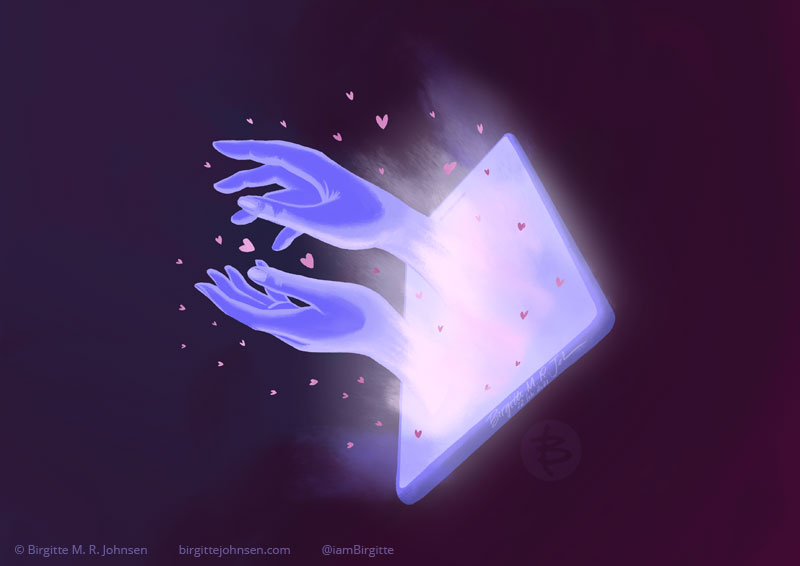 An illustration showing two glowing hands reaching through a lit up screen of a smart phone, a lot of little hearts are also coming through the screen. The focus is the screen screen, hands and hearts, which are lit up while the rest of the image falling into darkness. The image is painted in hues of blue, purple and pink.