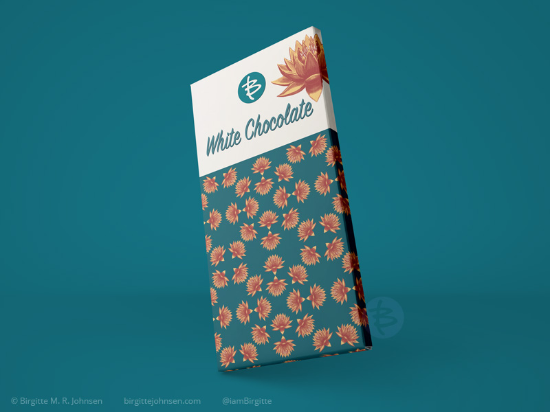 Mock up of packaging for a white chocolate bar, featuring a lotus flower as well as a pattern with lotus flowers.