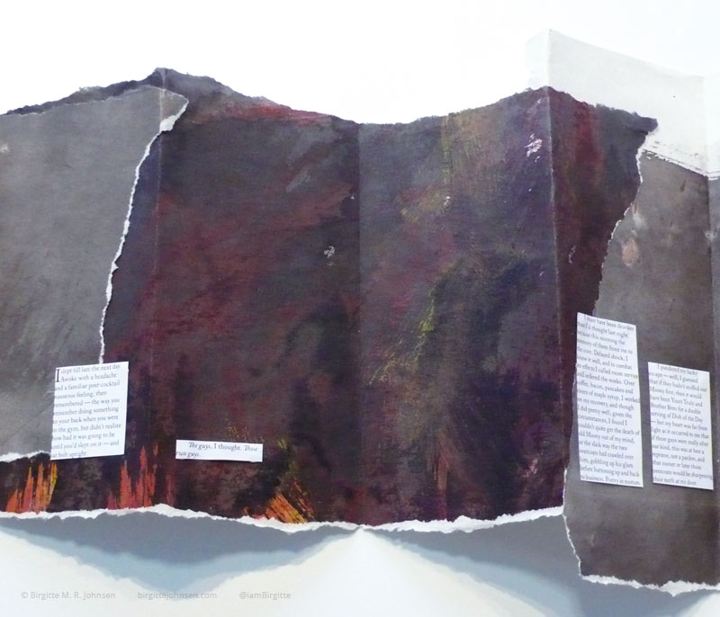 An open concertina made using a collage technique; the edges are visibly torn, and the story has been stuck to the pages.