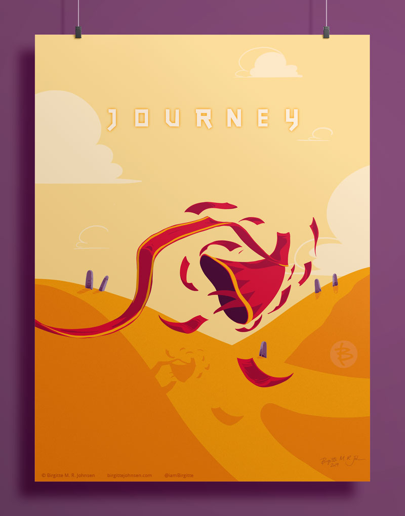 A poster for Journey showing a red character is being propelled through over the desert floor by a maelstrom of red carpets.