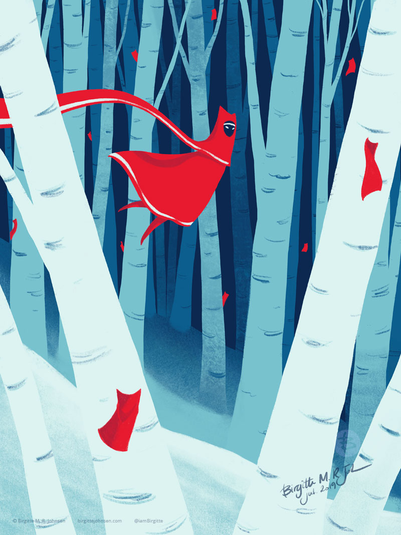 The character floats through a winter forest, while the cloth creatures are hiding from the character.