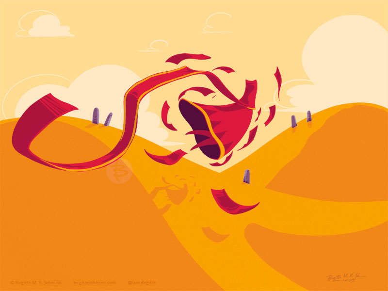 A red character is being propelled through over the desert floor by a maelstrom of red cloth creatures.