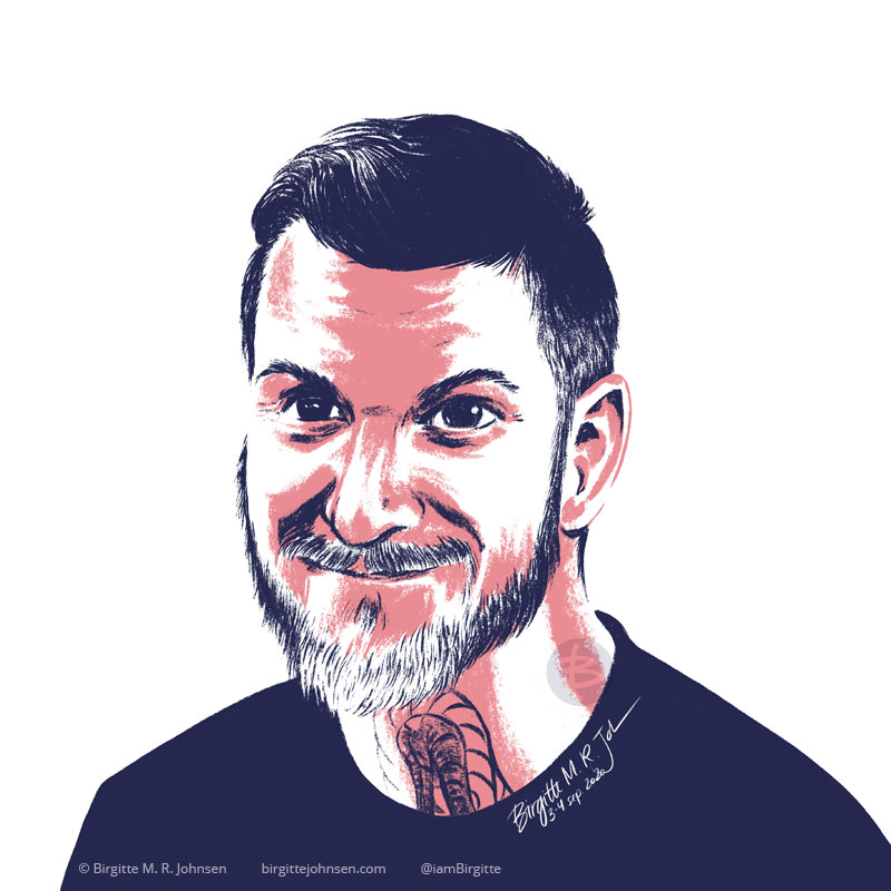 A stylised portrait of drummer Andy Hurley.