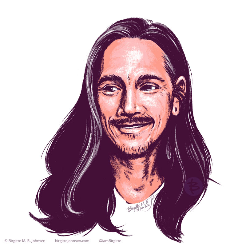 A stylised portrait of Brandon Boyd, front man and singer of Incubus.
