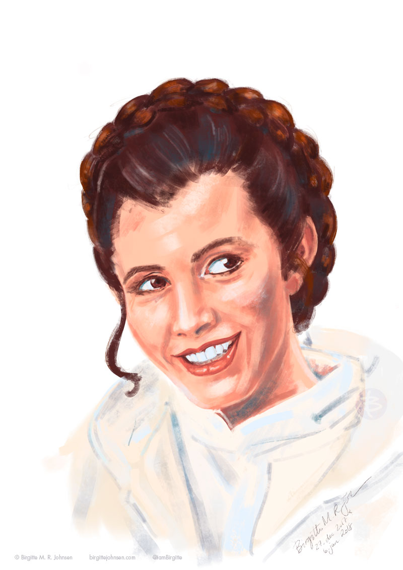 A digital portrait of Carrie Fisher as Princess Leia from Star Wars Empire Strikes Back.