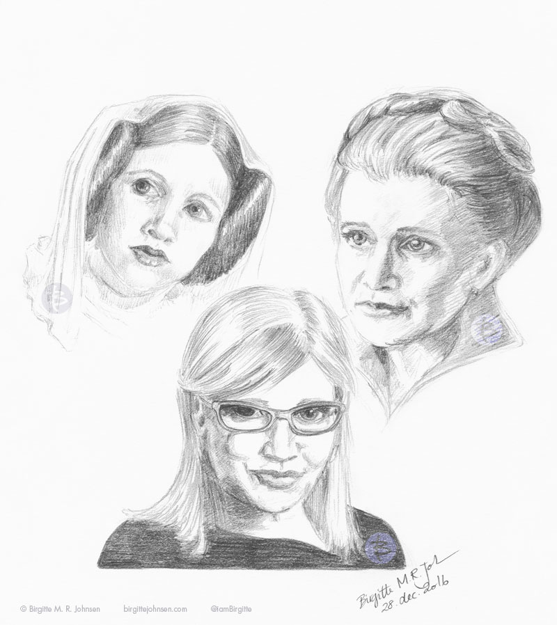 Three portraits of Carrie Fisher. One as Princess Leia, one as General Leia and finally as herself.