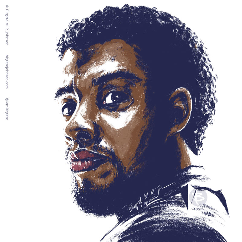 A stylised portrait the late great actor Chadwick Boseman.
