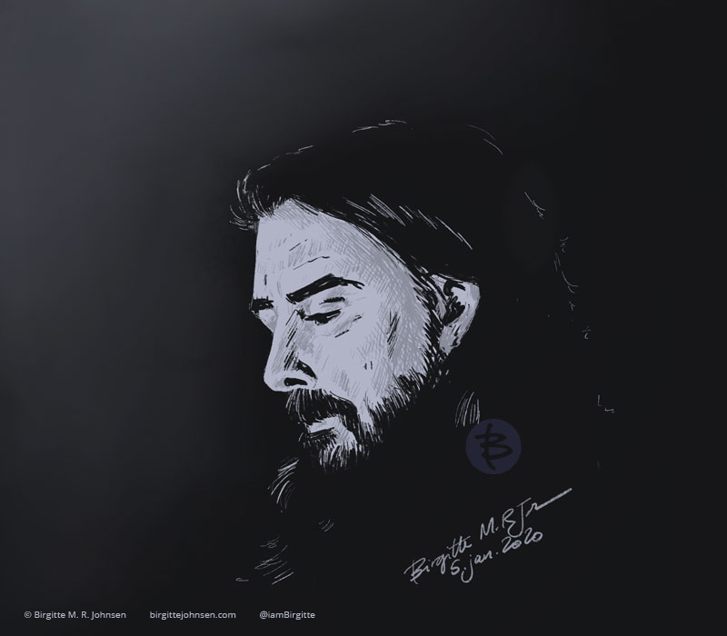 A digital portrait of multi-talented musician Dave Grohl.