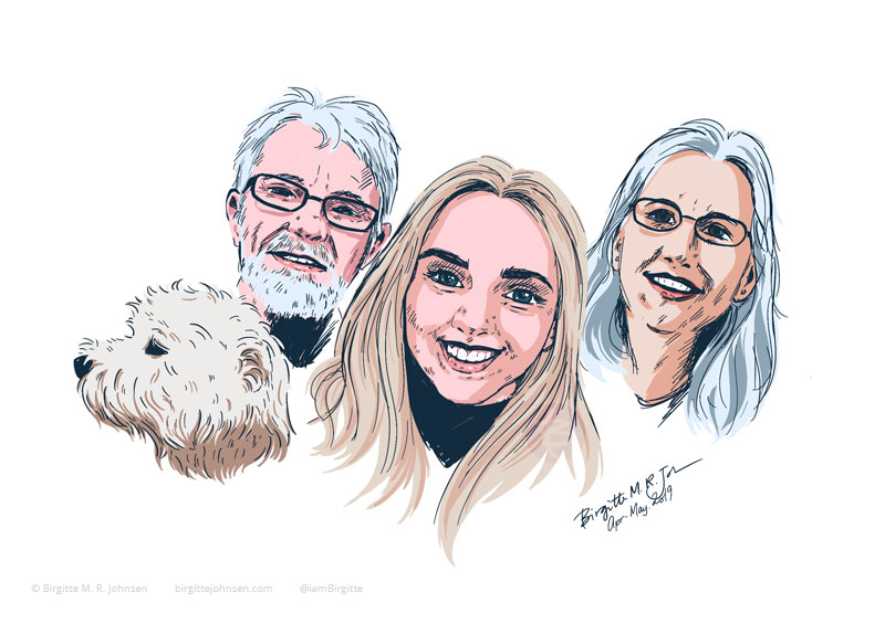 A digital portrait a family of three plus their dog.