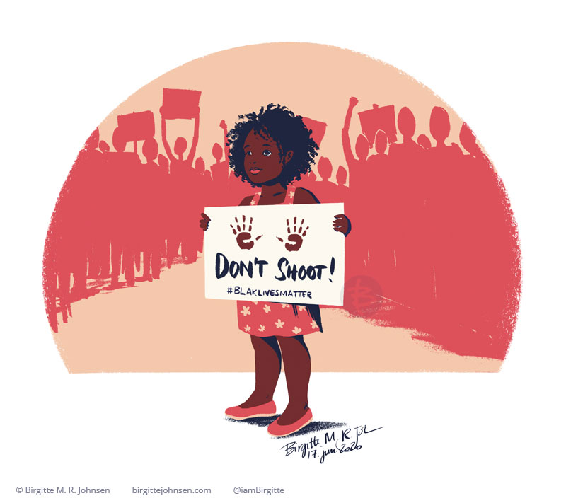 A little Black girl standing in front of a group of people in the Black Lives Matter protest holding a sign saying