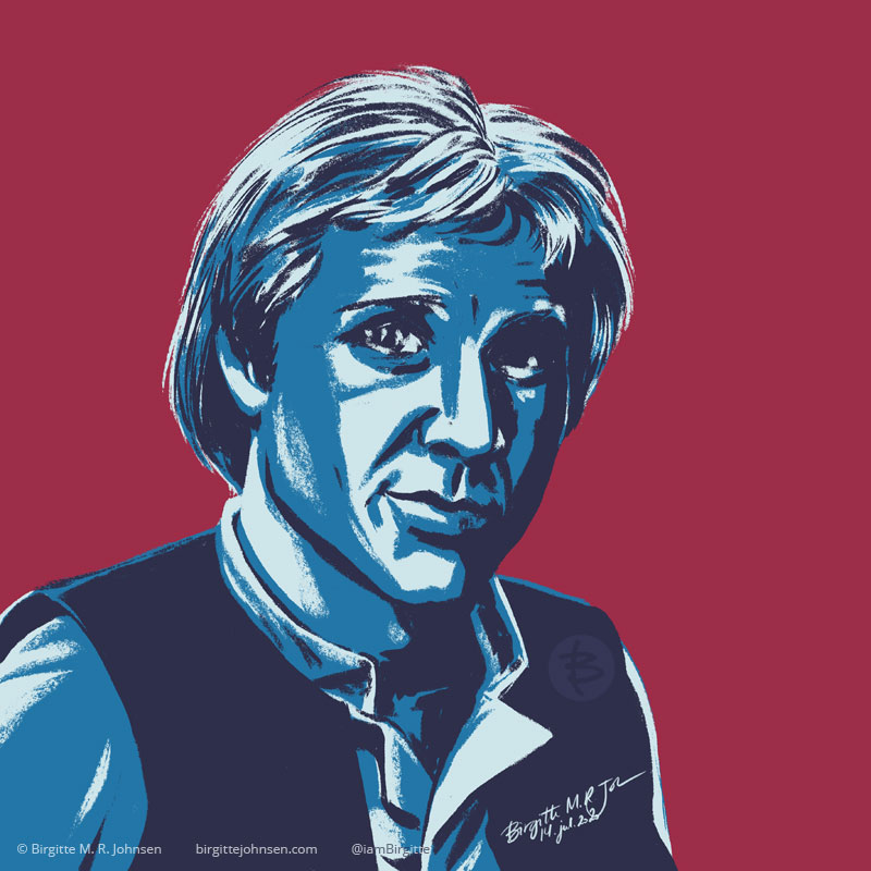Digital stylised portrait of Han Solo from the original Star Wars films, painted in hues of blue with a maroon background.